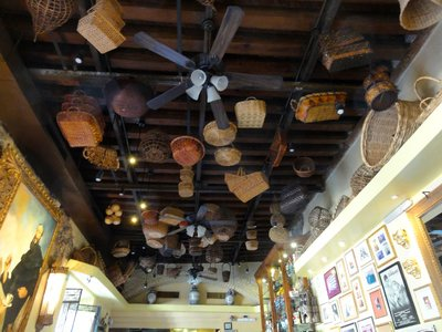 Ceiling covered with baskets
