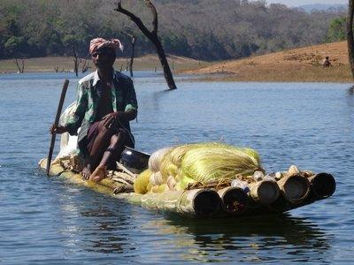 Tribal native on raft