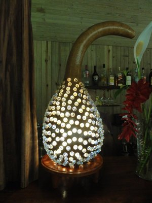 Calabash gourd made into a light