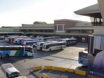 Some of the out of town buses at the Mall
