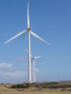 Line up of wind turbines