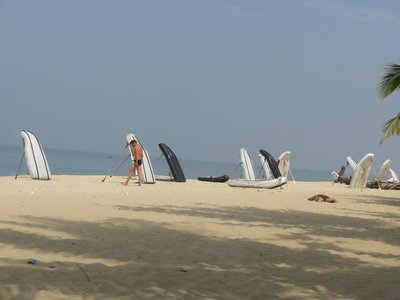 The fishing boats waiting on the beach