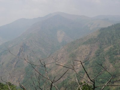 View of the hazy mountains