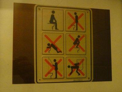 Sign in toilet demonstrating proper use