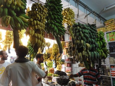 The fruit store with so many different kinds of bananas