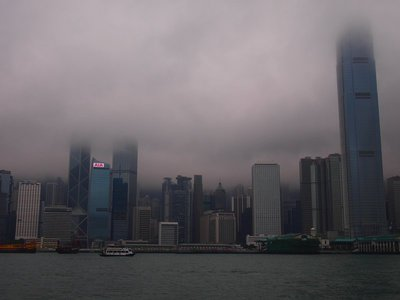 Buildings are so high, they get lost in the clouds!