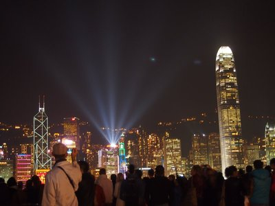 Light show on Hong Kong Island