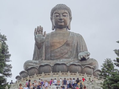 The huge bronze Buddha in Lantau Island, HK