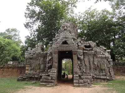 An entrance to one of the many ancient temples in Angkor Wat.