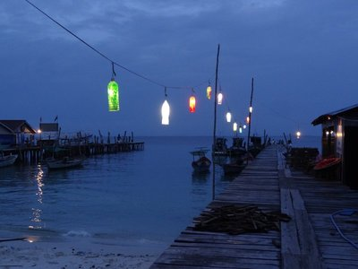 Make-shift fairy lights along the tiny pier, Koh Rong.