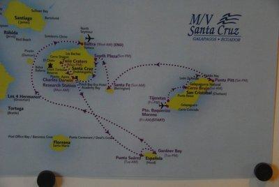 The route of the MV Santa Cruz