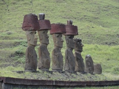 Ahu (platform) with moai and pukao (hat)
