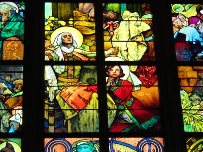 Stain glass by Mucha in St Vitus Cathedral
