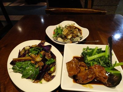 oysters and garlic sauce, spicy eggplant and pork ribs