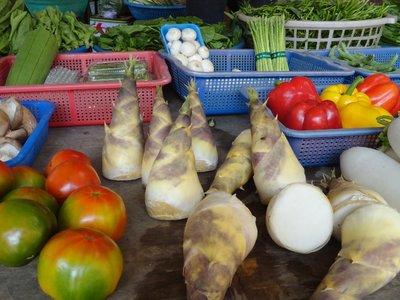 fresh bamboo shoots at the market