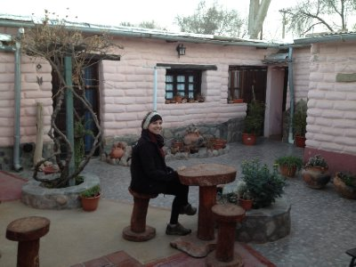 In the coutryard of our hostel in Humahuaca