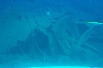 A sunken wreck off Santorini