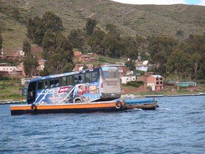 Bus across lake Titicaca