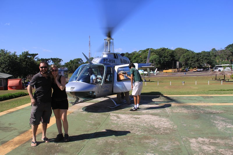 Helicopter flight over Iguazu Falls