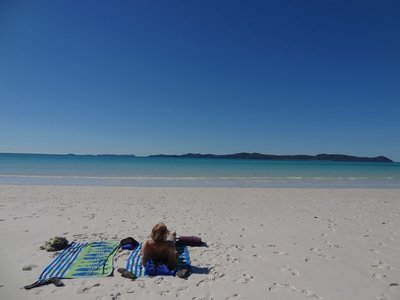 Enjoying Whitehaven Beach in the Whitsundays