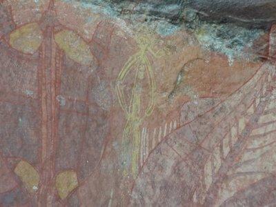 Ubirr's aboriginal art - a European with a pipe