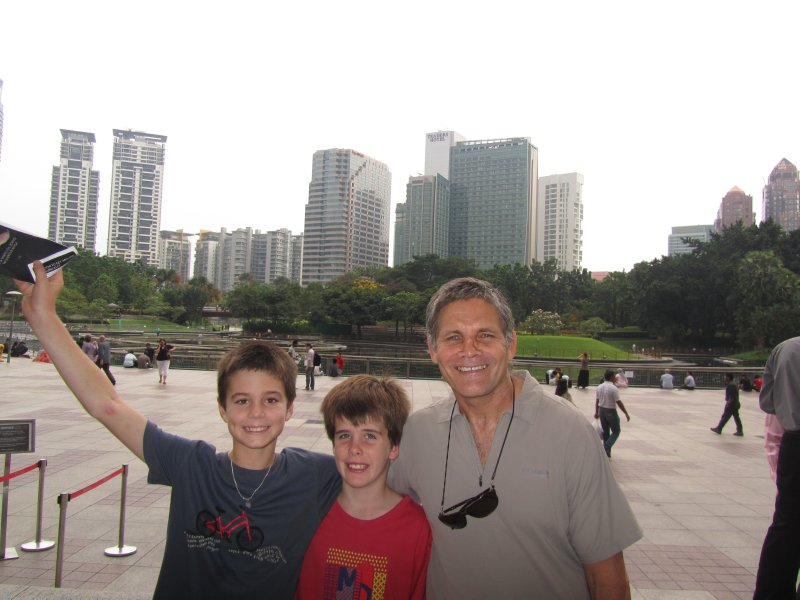 Tom, Ethan and Poppy in front to Traders Hotel