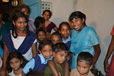 Ashwini with Kids from Sarpavaram Village