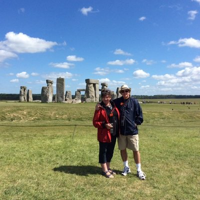 Stonehenge, England in beautiful weather. We came 3 years ago on a very wet day so this was fabulous