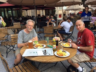 Vienna Schnitzel for dinner with Tony in Salzburg