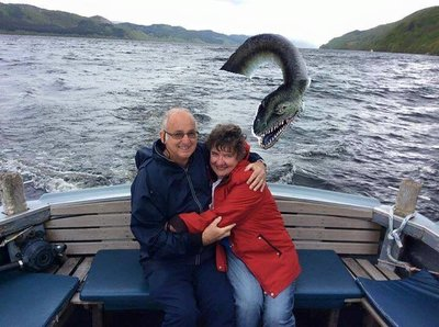Des and Valda on Loch Ness Our Daughter Fleur photoshopped Nessie in