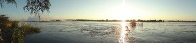 Zambezi sunset, Victoria Falls on the left