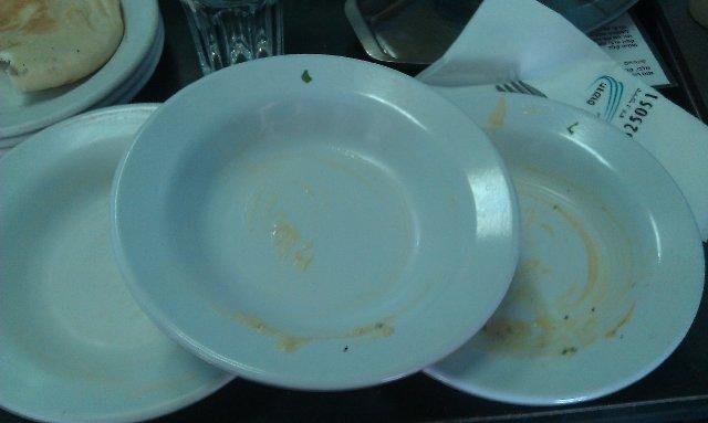 Empty hummus plates