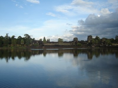 Angkor Wat from over the moat in late afternoon.