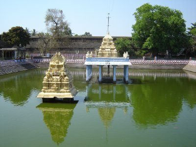Mandapam at Devarajaswami Temple, Kanchipuram where every 40 years they drain the water revealing a huge statue of Vishnu