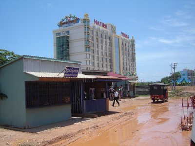 Above: Cambodian Border Control with Ha Tien Casino Resort in the background.