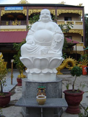 Above: Laughing Buddha statue in a local temple on Phu Quoc.