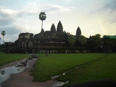 Above: Our first view of Angkor Wat after the rainstorm. It wasn't the best time of year to visit as it was opressively hot and the weather could take a turn for the worse at a moments notice.