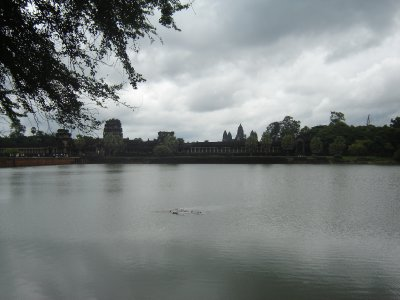 Above: The huge moat that surrounds Angkor Wat.