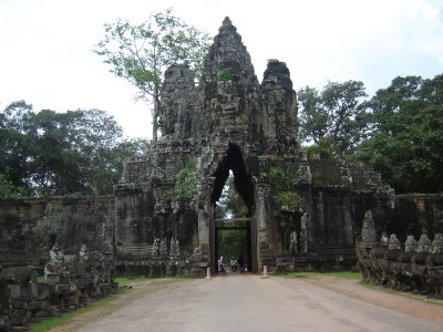 Above: The South entrance to Angkor Thom