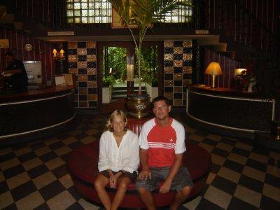 Above: Us in the art-deco lobby of The Atlanta Hotel, Bangkok.