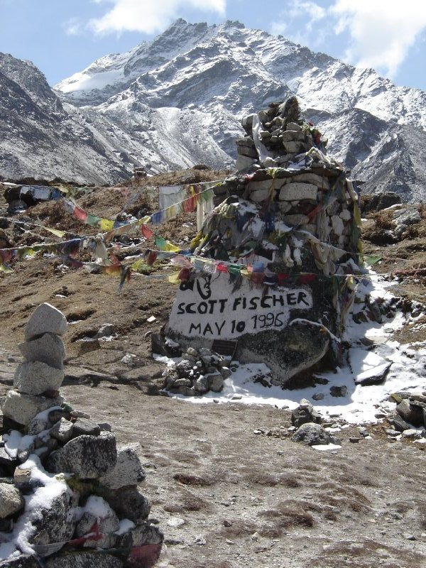 Above: The shrine to Scott Fischer, an American climber who died in the 1996 tragedy on the upper slopes of Everest.
