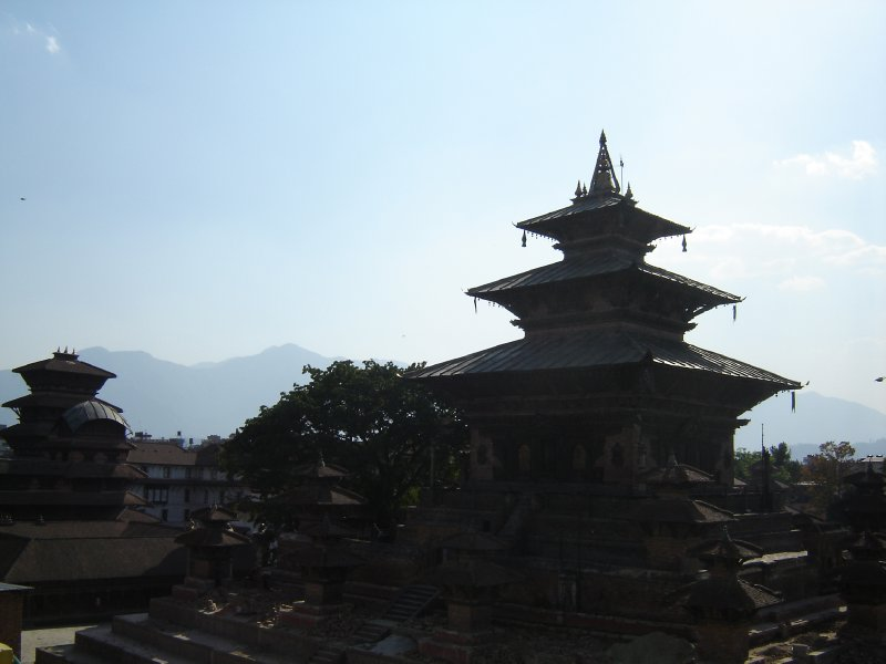 Durbar Square, Kathmandu with foothills in the background