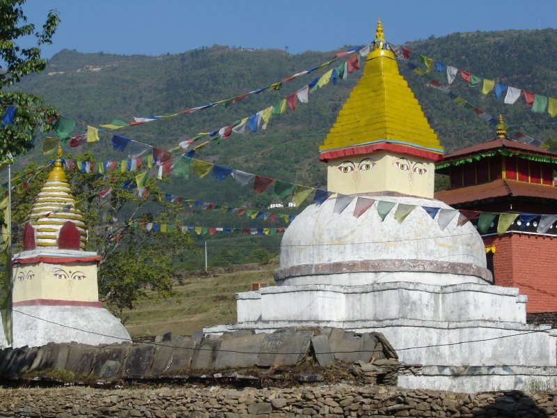 Above: the twin chortens of Bhandar. Deurali is high on the ridge in the background.