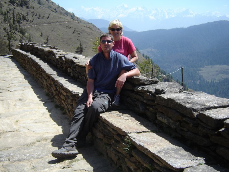 Above: Us pictured at the Everest View Lodge.