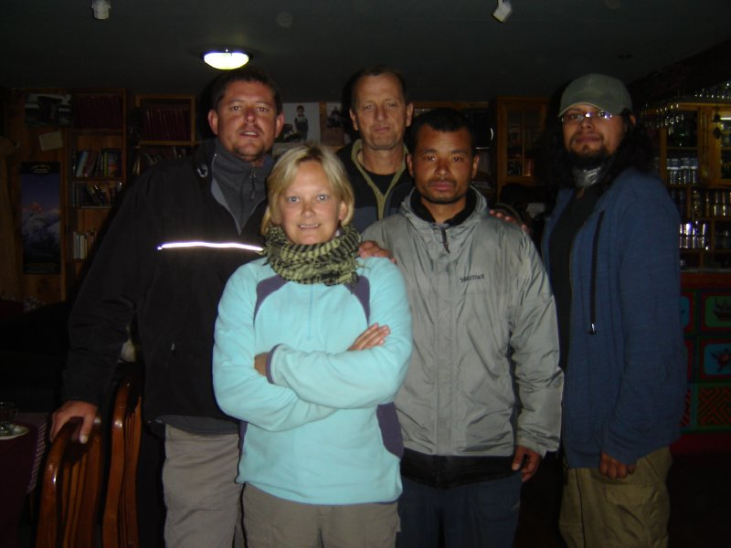 Above: Pictured at the Khumbu Lodge with Rick, Pemba and Jose.