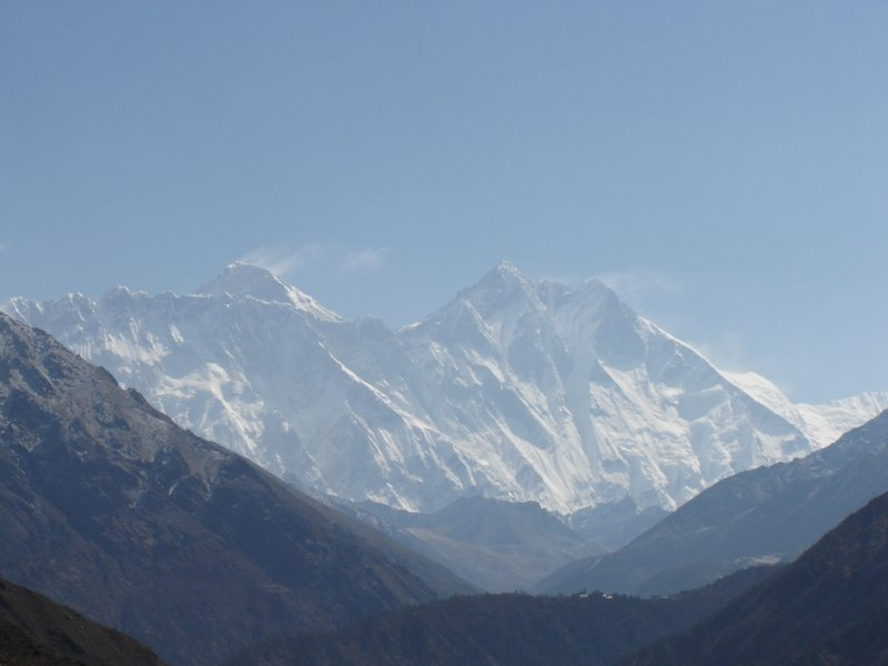 A close-up of Everest - it's the peak above Nuptse with the wisp of cloud (or possibly snow blowing of the summit)