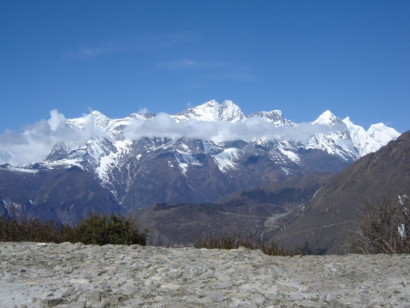 Above: Looking back towards Namche from Tengboche with the Kondge Ri range in the background.