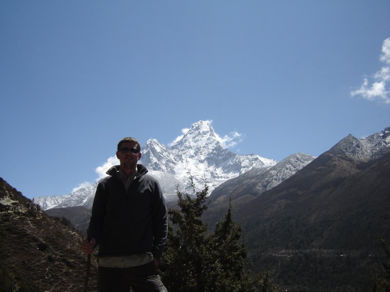 Above: Phil pictured in front of Ama Dablam on the trail to Pangboche.