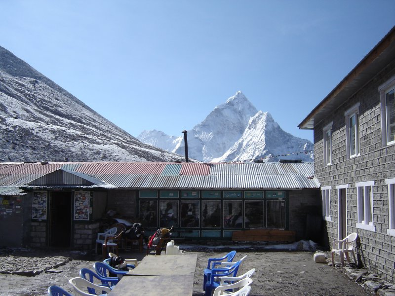 Above: The restaurant at the lodge in Dughla with Ama Dablam in the background. The mountain looks very different from this angle. You can also see part of the exposed mountainside where we were caught in the snowstorm the day before.