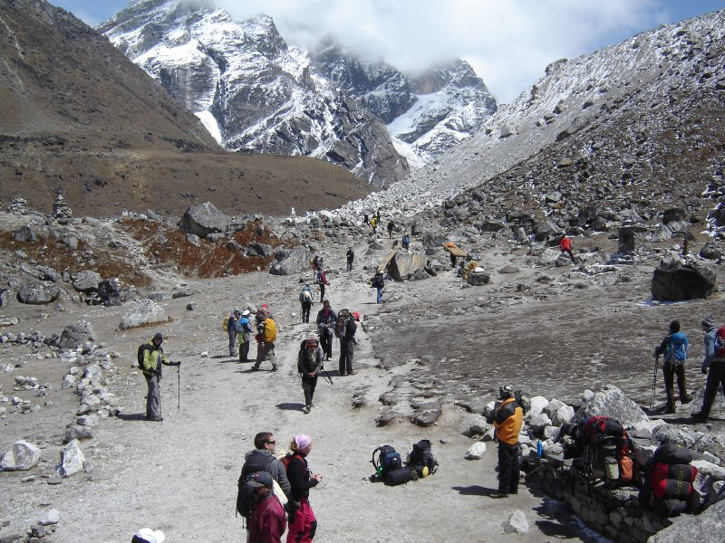 Above: At the top of Lobuche Pass. This photo shows how busy the trail was that day. It rarely got this busy, however.